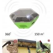 Aparat mobil de alungat păsări (inclusiv rândunele, pescaruși), alimentare solară, 150 de mp, Gardigo
